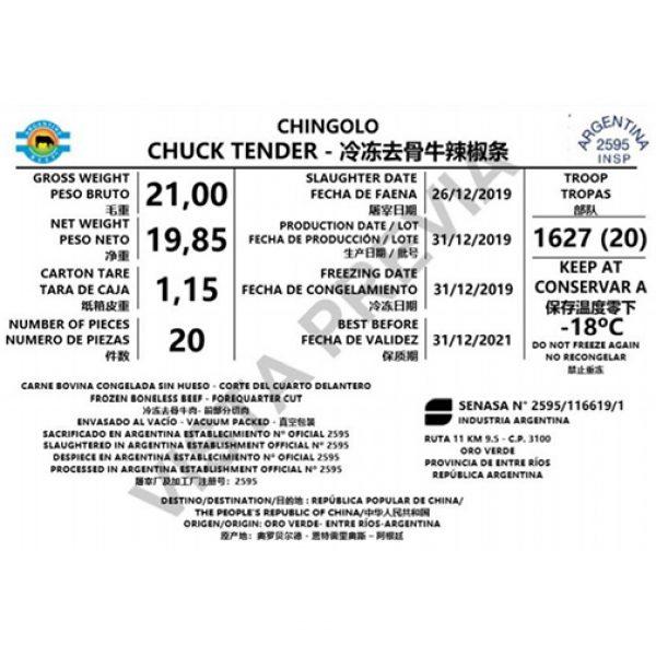 Beef chingolo chuck tender